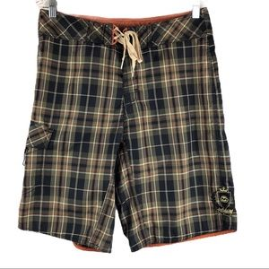 Billabong Brown Plaid Board Shorts